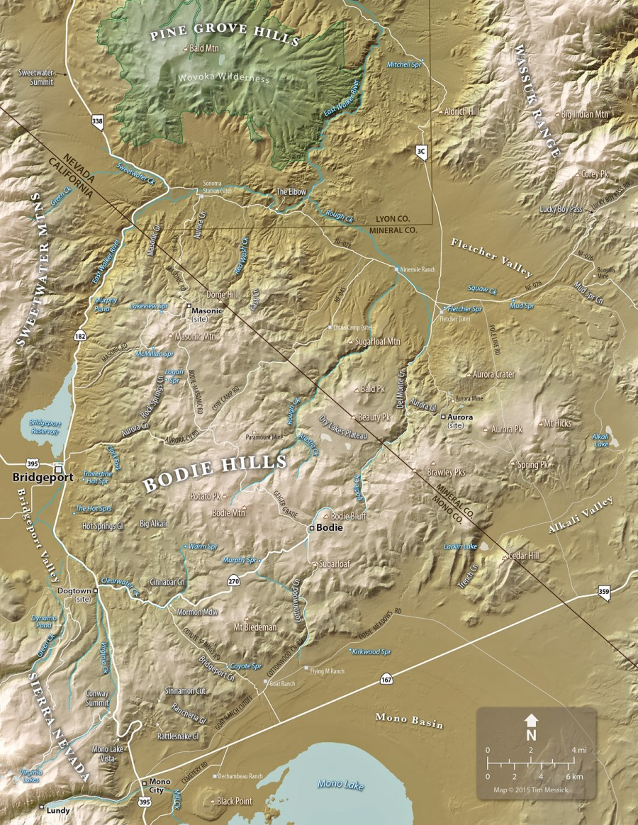 Map of the Bodie Hills