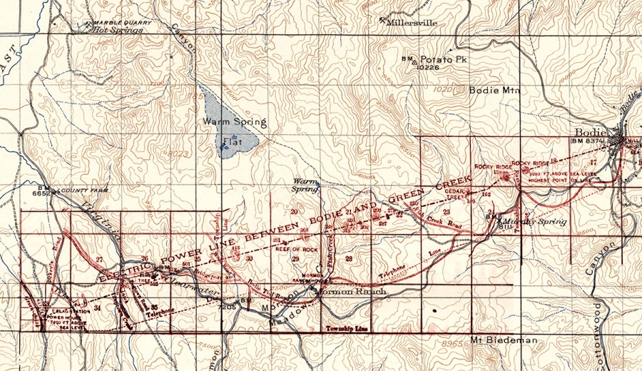 1909 topo map with Green Creek Power Line