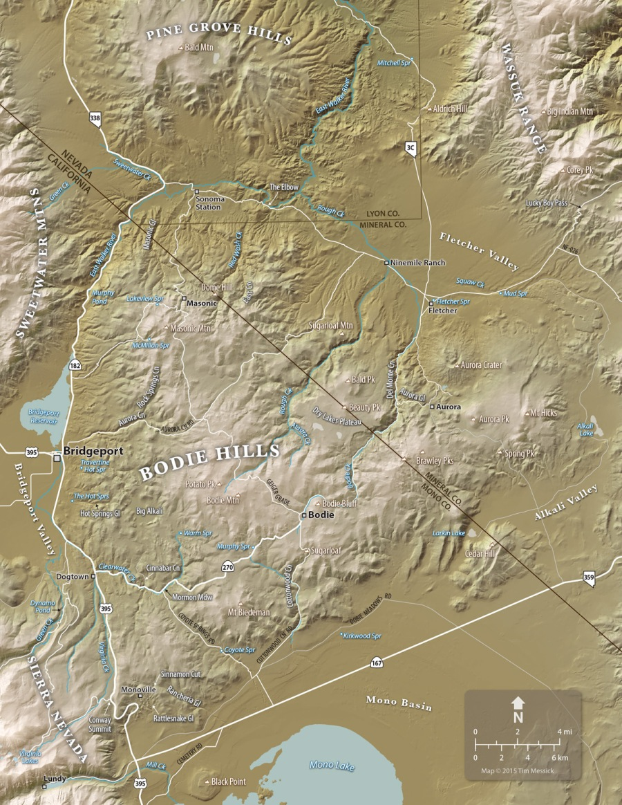 Map of the Bodie Hills and Vicinity