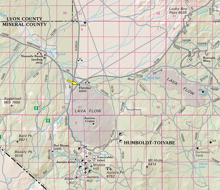 Fletcher on a Nevada DoT highway map